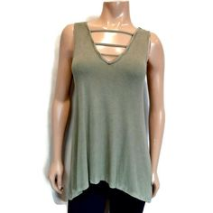 American Eagle Outfitters Soft & Sexy Caged Tank Top Womens Size Small Green Rib #AmericanEagleOutfitters #Basic #Casual American Eagle Outfitters, Basic Tank Top, Tank Tops, Underarm, Sexy, Green, Casual, Blouses, Shirts