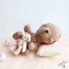 Sleeping Hedgehog Thorny Teddy Friend  by KittyAprilHandmade, $50.00
