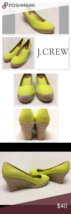 """J Crew Yellow Wedges  Size 8.5 Gorgeous bright color for summer! 3.5"""" heel and 3/4"""" platform. Worn indoors only two times. Glue on inside seams on wedge, they came that way. See photos. Color is like mix between neon yellow and neon green. J. Crew Shoes Wedges"""