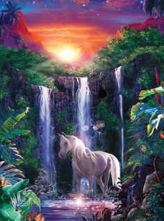 Masterpieces Christian Riese Lassen Crystal Falls Glitter Jigsaw Puzzle - 500 pc