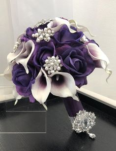 Customize Your Package Purple Calla Lily Bouquet Purple Rose And Lily Bouquet, Purple Brooch Bouquet, Calla Lily Bridal Bouquet, Bling Bouquet, Calla Lily Boutonniere, Calla Lily Wedding, Bridal Brooch Bouquet, Purple Wedding Bouquets, Bridesmaid Bouquets