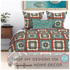 """I'm liking my new design, """"Retro Quilt Block"""", which will be available soon on my shop. News Design, My Design, Quilt Blocks, Spoonflower, Comforters, Quilts, Blanket, Retro, Bed"""