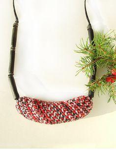 Short Red Black Necklace Filigree Knit Detail by ValgStudio