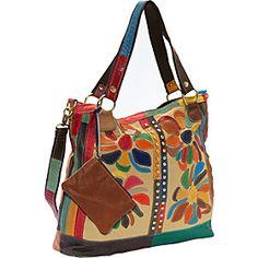 AmeriLeather Rosalie Canvas/Leather Tote - Rainbow - via eBags.com!
