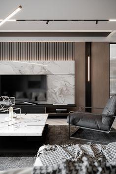 Sivas Residence / Sivas TR on Behance Living Room Tv, Living Room Interior, Apartment Living, Contemporary Interior Design, Home Interior Design, Living Room Furniture Arrangement, Lounge Design, Luxury Home Decor, Luxury Living