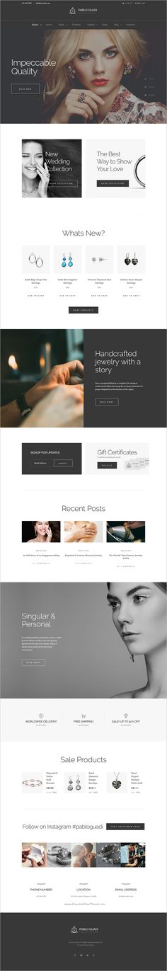 Pablo Guadi is a modern design responsive 2in1 #WordPress theme for #jewelry #designer & handcrafted jewelry online store website download now➩