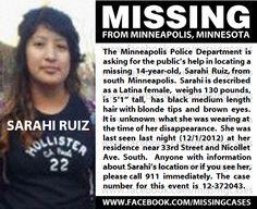 Sarahi Ruiz, 14, MISSING since 12/1/2012 from Minneapolis, MN.