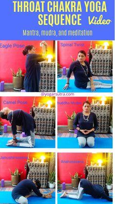 Throat Chakra yoga sequence YouTube video, Vishuddha mudra Chakra Meditation, Chakra Healing, Eagle Pose, Fish Pose, Cobra Pose, International Yoga Day, How To Improve Relationship, Cool Yoga Poses, Emotional Pain