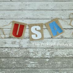 USA Burlap Banner 4th of July Red White Blue by ThePickledPeanut