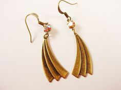 Art Deco Style Earrings in Antique Brass with by TheGoldenRobin