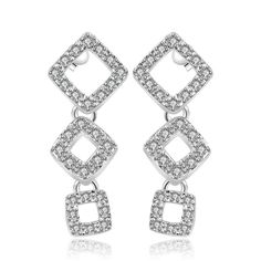 Picture of Fashion Earrings Women Trendy Geometry Silver Plated Silvering Crystal