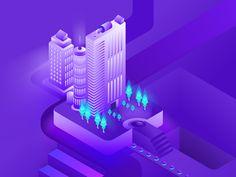Isometric digital illustration wip 4x