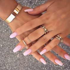 Gorgeous pink nails, accented with gold jewellery~