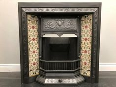 Fully Restored Original Antique Edwardian Tiled Insert Grate Fire Fireplace