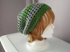 Copley hat in Slytherin green and silver  by woolendiversions, $25.00