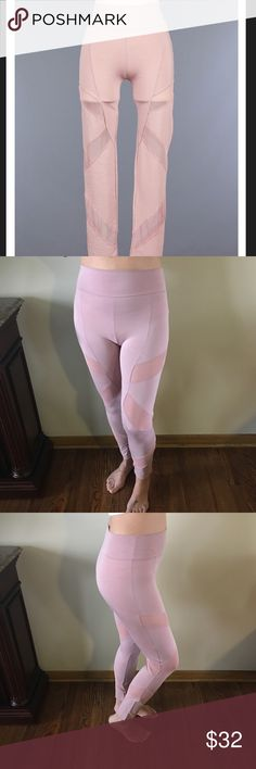 "Rosey Mauve High Waisted Mesh Contrast Leggings A unique take on your standard black leggings...a solid rosey mauve color ..high waisted with a band that measures 3.5"" from natural waist...the mesh contrast adds a little something extra for any girl on the go...amazing stretch...Price firm.  💕I'm 5'7 modeling size M and I'm typically a 27/28 💕Poly/Rayon/Nylon/Spandex blend 💕Waist(highest point) laying flat:S(11.5"")        M(12.5"") L(13.5"") 💕Hips laying flat:S(13.5"") M(15.5"") L(16.5"")…"