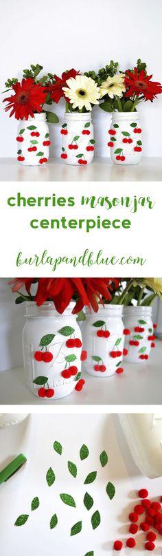 summer cherries mason jar centerpiece! an easy centerpiece idea using jars, pom poms and glitter cardstock.
