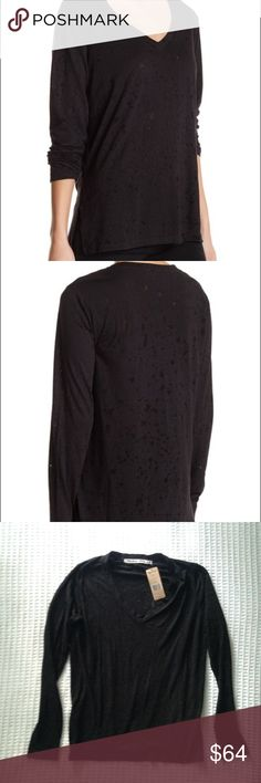 NWT Michael Stars black splatter burnout long slv Super soft long sleeve v neck Michael Stars tee in a black splatter burnout print. So comfortable and perfect with skinny jeans and booties! Michael Stars Tops Tees - Long Sleeve