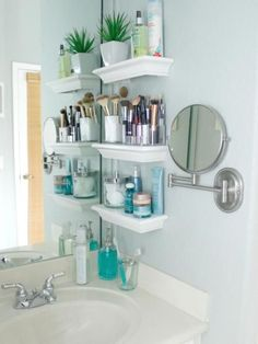 Stacked Small Bathroom Shelves