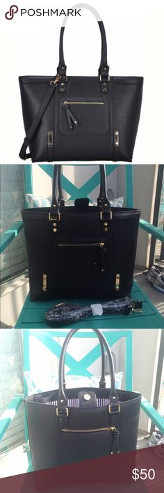 """Madison West LAUREN Tote Pre-Loved Black Madison West tote. Vegan leather. Excellent condition. Carried for about 1 week. Magnetic closure. Inside pouch w/ zipper. Leather shoulder strap (never used). 17.75"""" x 12"""" x 5.5"""" Madison West Bags Totes"""