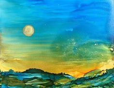 Abstract landscape sunset sunrise painting room by AandKartStudio
