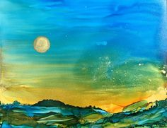 Abstract landscape sunset sunrise painting room by AandKartStudio