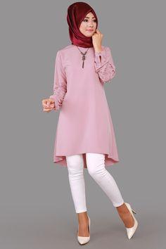 ** İNDİRİM ZAMANI ** Taş ve İnci Detay Tunik  Pudra Ürün Kodu: PN2019-S--> 59.90 TL The Dress, High Neck Dress, Modele Hijab, Abaya Fashion, Fashion Ideas, Casual Outfits, Sewing, Clothes, Dresses
