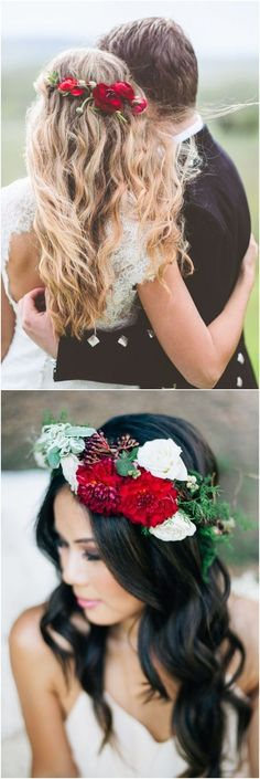 Wedding Hairstyles With Red Flower Crowns #weddings #weddingideas #hairstyles #weddingcrowns
