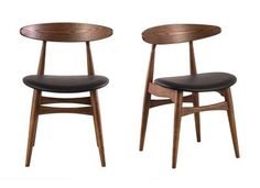 Chaise design noyer et PU noir lot de 2 WALFORD -