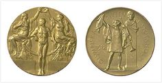 1912 Stockholm Sweden Summer Olympics Medals. Stockholm's medals include an image of a herald declaring the opening of the Game and a bust of Swedish gymnastics pioneer Pehr Henrik Ling.