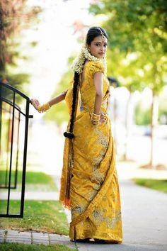 South Indian Bride in Sunny Yellow Kanchipuram Silk Saree Indian Bridal Wear, Pakistani Bridal, Hindu Wedding Ceremony, Tamil Wedding, Hindu Bride, Kerala Bride, Half Saree Function, Sri Lankan Bride, Indian Marriage