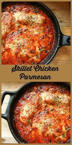 Lightened up Chicken Parmesan is a delicious one pan, easy weeknight dinner and a yummy way to use chicken breasts. Lightened up Chicken Parmesan is a delicious one pan, easy weeknight dinner and a yummy way to use chicken breasts. Skillet Chicken Parmesan, Chicken Parmesan Recipes, Recipe Chicken, Chicken Cast Iron Skillet, Italian Chicken Recipes, Mozzarella Chicken, Chicken Dips, Breaded Chicken, Chicken Meals