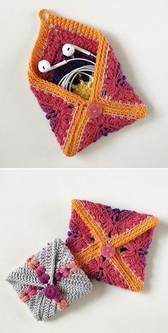 Crochet Pouch, Crochet Purses, Crochet Gifts, Free Crochet, Kids Crochet, Free Knitting, Diy Embroidery Flowers, Simple Embroidery, Knit Flowers