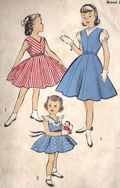 1940s Girls Party Dress or Jumper Vintage Sewing Pattern Advance 6296 size 8. $9.00, via Etsy.
