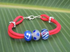 550 Paracord Bracelet with Euro Beads AT131 by Artisticjewelsnmore, $18.00