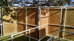 Really good photos of a home outdoor haunt build.  Built the structure with a lot of corners that are connected with metal brackets. The plywood is attached to the PVC with screws , bolts, and zip ties.  Added a lot of internal walls that give more stability to the structure. The PVC is 1-1/2 inch which makes it much more stable.  Halloween Forum