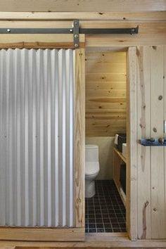 Corrugated metal barn door diy ideas for 2019 Ideas Cabaña, Decor Ideas, Decorating Ideas, Casa Loft, Corrugated Tin, Cabin Bathrooms, Metal Barn, Metal Fence, Interior Barn Doors
