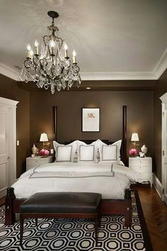 Love the chocolate brown and the chandelier... Very Charleston  Like the chandelier