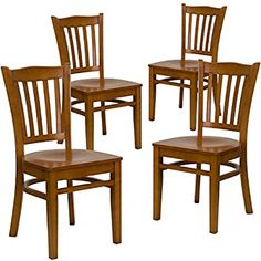 Amazon.com - Flash Furniture 4 Pk. HERCULES Series Vertical Slat Back Cherry Wood Restaurant Chair - Chairs Wood Restaurant Chairs, Woods Restaurant, Restaurant Furniture, Metal Dining Chairs, Dining Chair Set, Dining Room, Stainless Steel Table Top, Outdoor Table Settings, Commercial Furniture