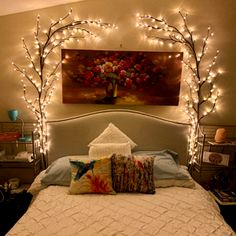 Room Ideas Bedroom, Home Bedroom, Bedroom Decor, Living Room Decor, Bedrooms, Twig Lights, Lighted Branches, Hanging Lights, Warm Home Decor