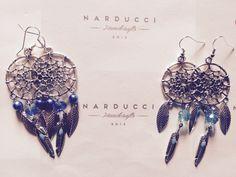 """Orecchini pendenti in argento """"acchiappasogni"""" con Swarovski"""