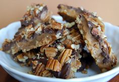 Bourbon Toffee- This recipe is from my Great Aunt Kate. It's the best toffee ever! The Bourbon only deepens the flavor. It doesn't make the toffee taste boozey at all.