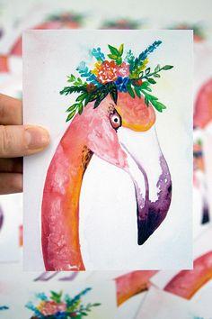 Flower Flamingo Postcard