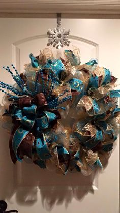 Deco mesh wreath brown, teal and gold