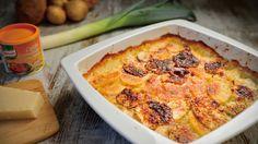 A tradicional receita francesa de Batata Dauphinoise é aqui recriada com recurso à batata-doce