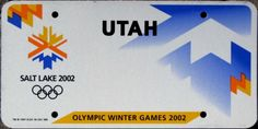 Utah license plate - Salt Lake City 2002 Winter Olympics