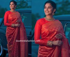 Nyla Usha attended an event recently wearing a red kanchipuram saree by Seematti paired with closed neck full sleeves blouse by Paislee Studio. Gold jewellery from Joyalukkas and an updo completed her look! Silk Saree Blouse Designs, Fancy Blouse Designs, Blouse Neck Designs, Silk Saree Kanchipuram, Banarsi Saree, Silk Sarees, Indian Fashion Dresses, India Fashion, Women's Fashion