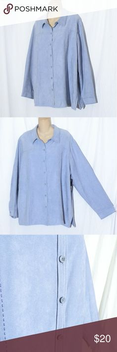 bc9bff0b385 NWT Relativity Woman Suede Button Down Shirt Sz 2X NWT