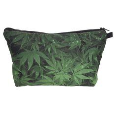 Weed green 3D Printing women cosmetic bag bolsos mujer de marca famosa 2016 neceser Zohra Fashion makeup bag travel organizer