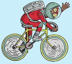 astronauta, viaje, bicicleta, illustracion, colores, dibujo, mono, simio, alegria
